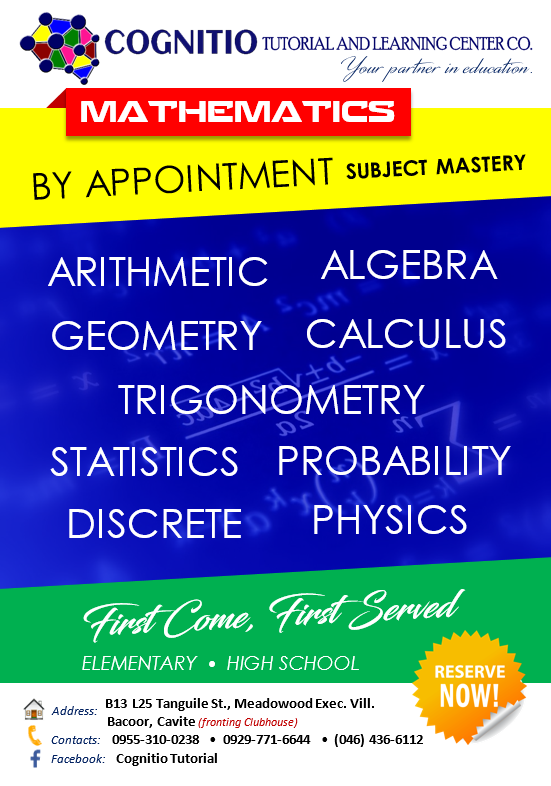 2020 Cognitio Promotion (Center Based - Math Mastery by Appointment)