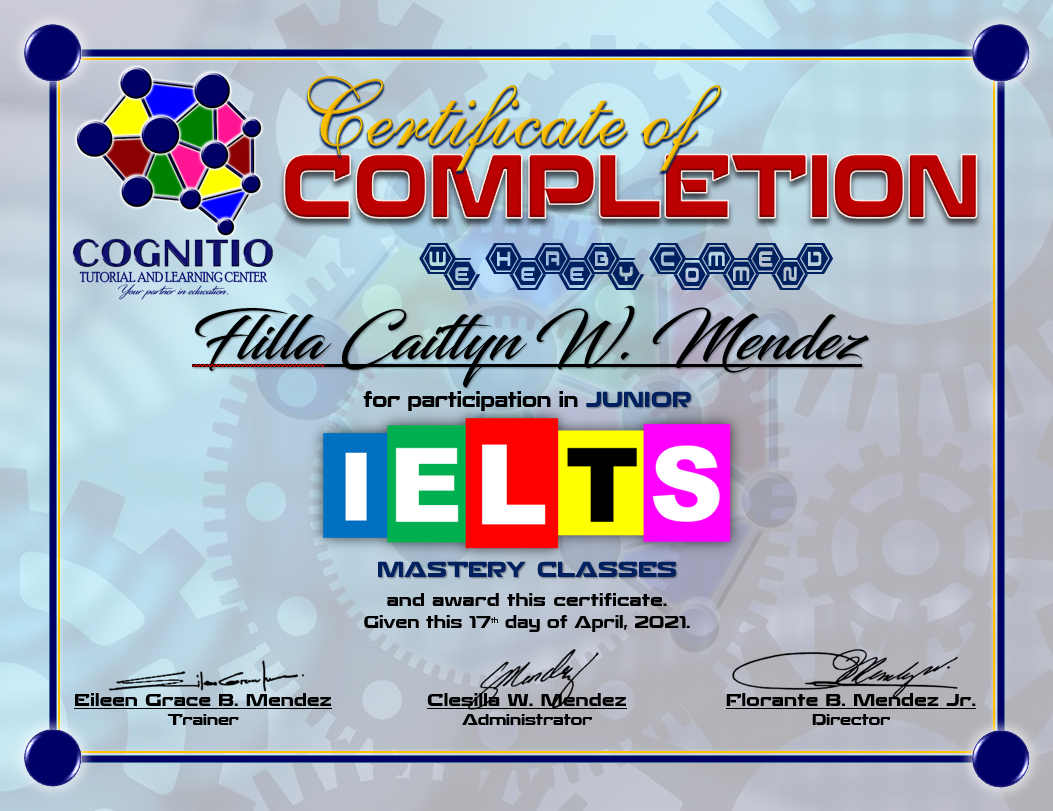 IELTS Mastery Classes Certificate